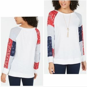 STYLE & CO. Patchwork Bandana Sweatshirt, PM